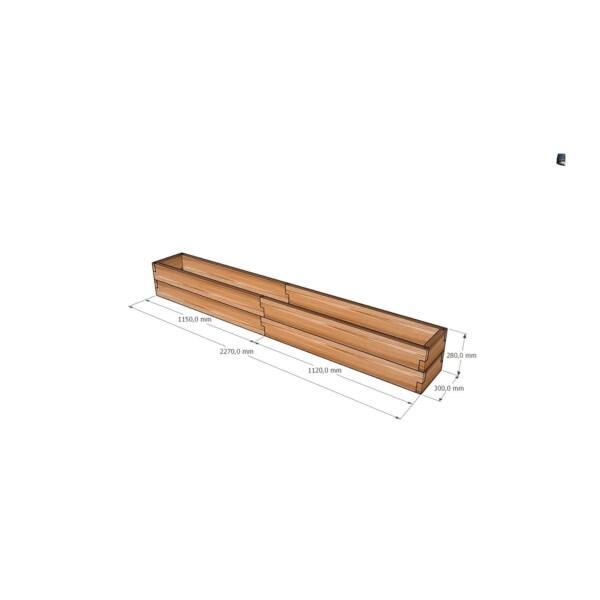 Узкая грядка-кашпо из лиственницы / 227x30см