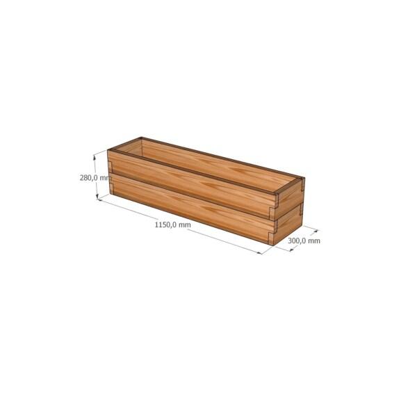 Деревянное кашпо из лиственницы / 30x115см