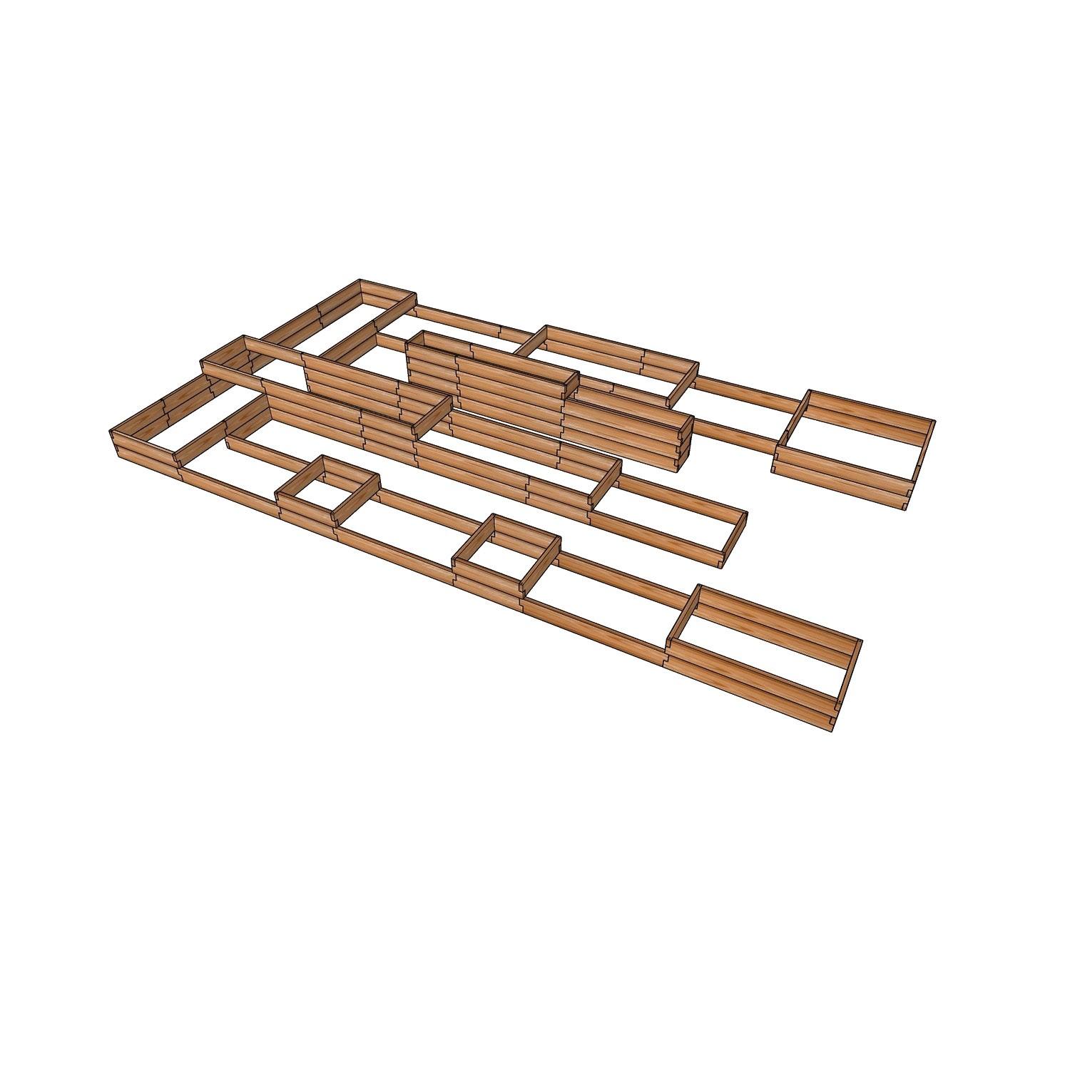 Деревянные грядки из лиственницы для теплицы 6,5x3,6м / Проект на заказ