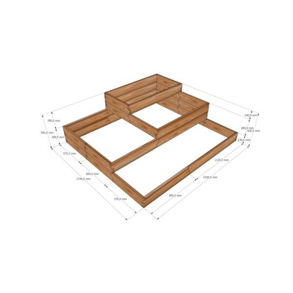Клумба из лиственницы / 192x174см