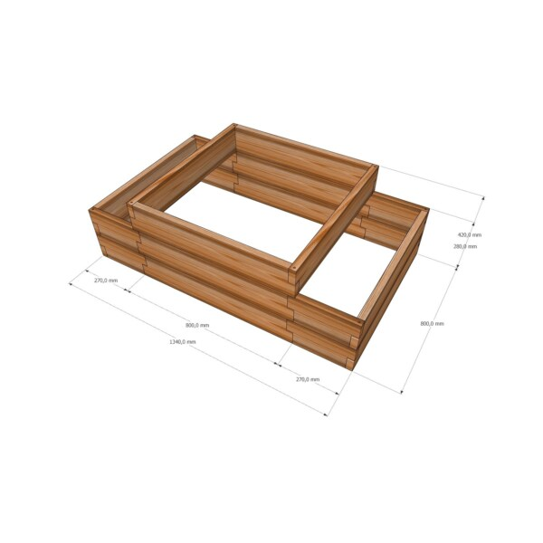 Высокая деревянная мини-грядка / 134x80см